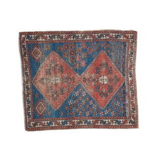 "Distressed Antique Persian Square Rug - 3'3""x3'10"""