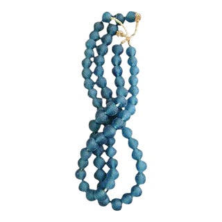 Blue Jumbo Sea Glass Bead Strands - a Pair