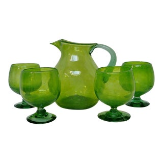 Vintage Green Sangria Set - 5 Pieces
