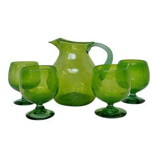 Vintage Green Sangria Set - 5 Pieces