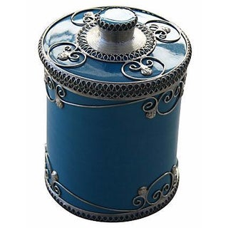 Blue Moroccan Ceramic Jar With Lid