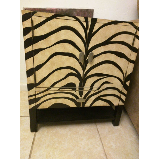 Image of Zebra Print Side Tables - A Pair