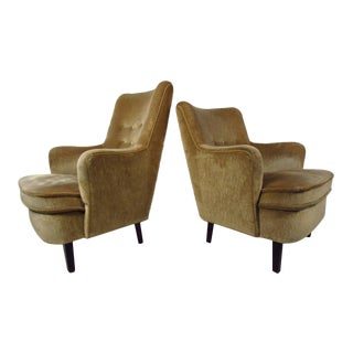 """His and Her"" Midcentury Upholstered Danish Armchairs"