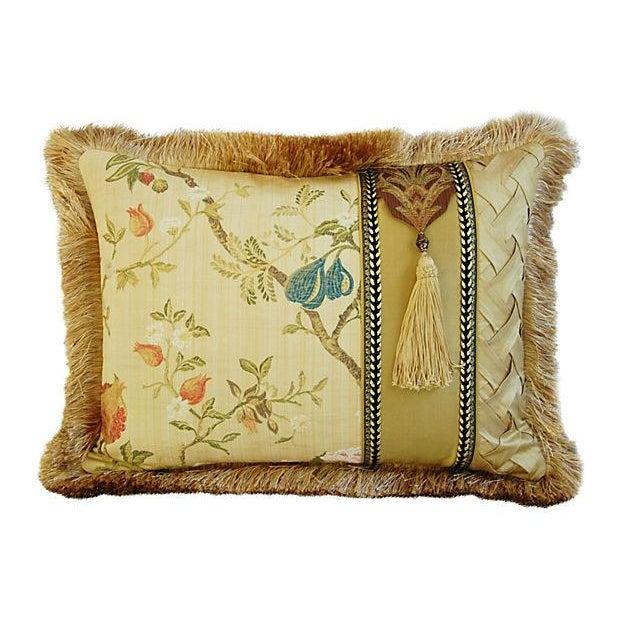 Italian Scalamandré Melograno Lampas Pillow - Image 1 of 7