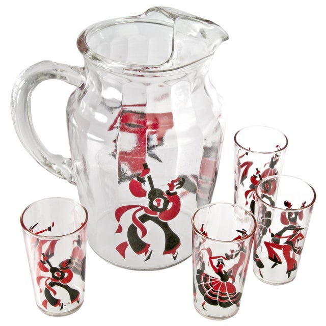 Flamenco Dancer Pitcher And 4 Juice Glasses - Image 1 of 3