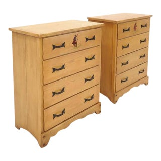 Pair of Monterey Chests of Drawers, Western Style, Hand-Painted, 1930s