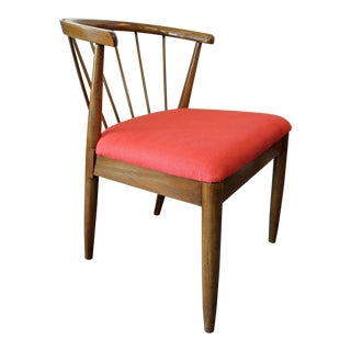 Mid-Century Red Walnut Curved Back Spindle Side Chair