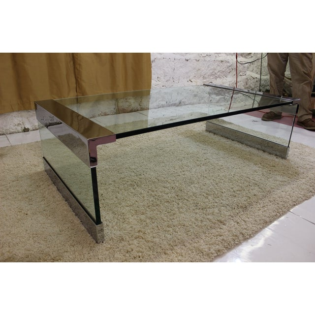 Pace Chrome & Glass Coffee Table - Image 7 of 7