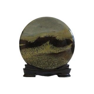 """Natural """"Painted Landscape"""" Sandstone Slab on Stand"""