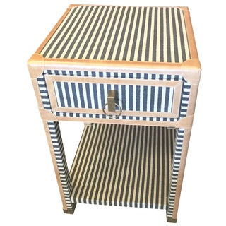 Blue & White Striped Nightstand