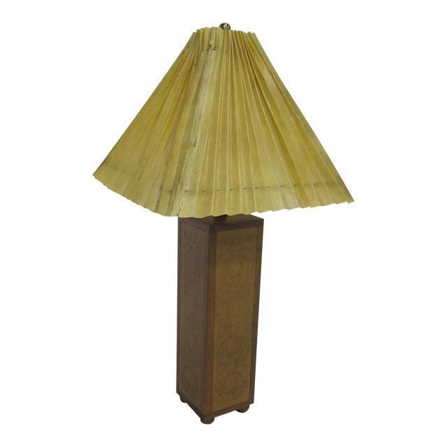 Vintage Sarreid LTD Embossed Leather Table Lamp - Image 1 of 2