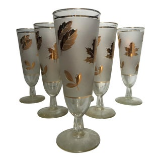 Libby Gold Falling Leaf Beer Glasses - Set of 6
