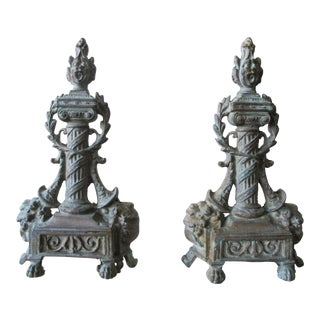 Neoclassical Gray-Green Andirons - A Pair
