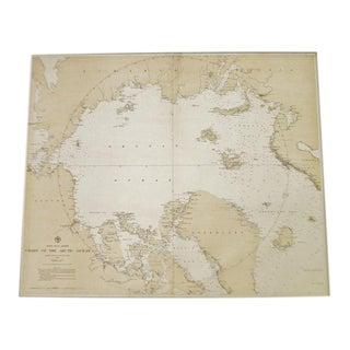 Antique 1885 North Polar Regions Chart