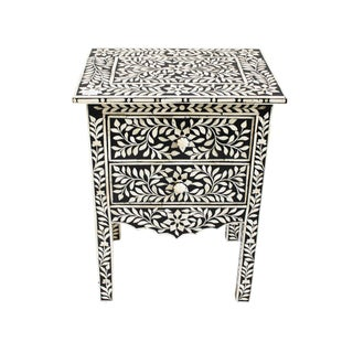 Colonial Bone Inlay Nightstand With Drawer