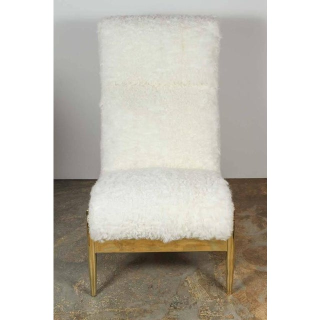 Paul Marra Slipper Chair in Brass with Curly Goat - Image 5 of 7