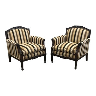 Striped Wood Framed Chairs - A Pair