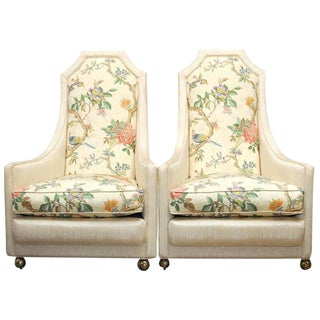 Adrian Pearsall Style High Back Lounge Chairs - A Pair
