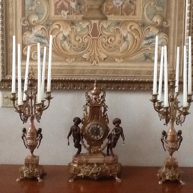 Marble Cherub Clock and Candelabras - Image 2 of 5