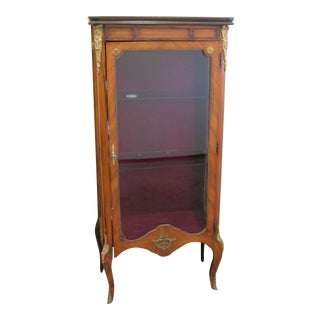 Antique Veneer Curio Cabinet With Brass Ormolu