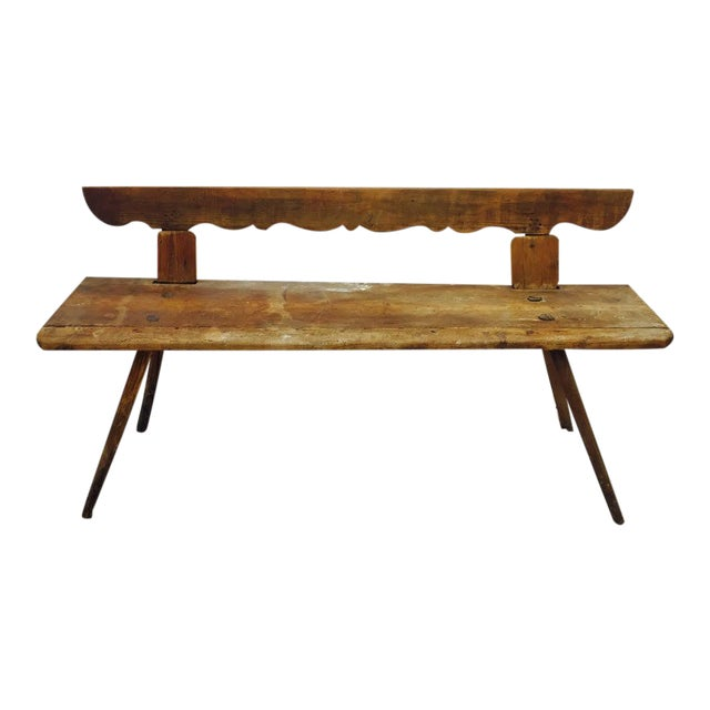 Antique Wooden Farm Bench - Image 1 of 10