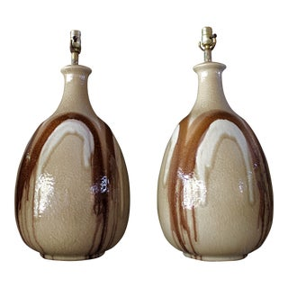 Monumental Mid-Century Raymor / Cressey Style Drip Lava Glaze Ceramic Lamps - a Pair