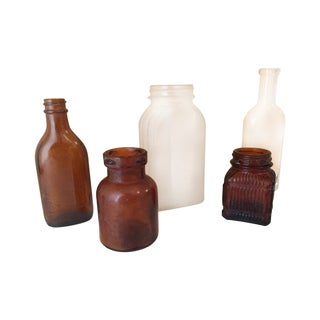 Vintage Amber & Clear Apothecary Bottles - Set/5