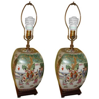 Chinese Export Porcelain Painted Ginger Jar Table Lamps- A Pair