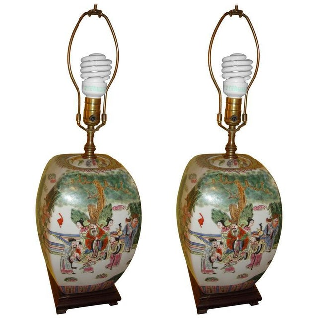 Image of Chinese Export Porcelain Painted Ginger Jar Table Lamps- A Pair