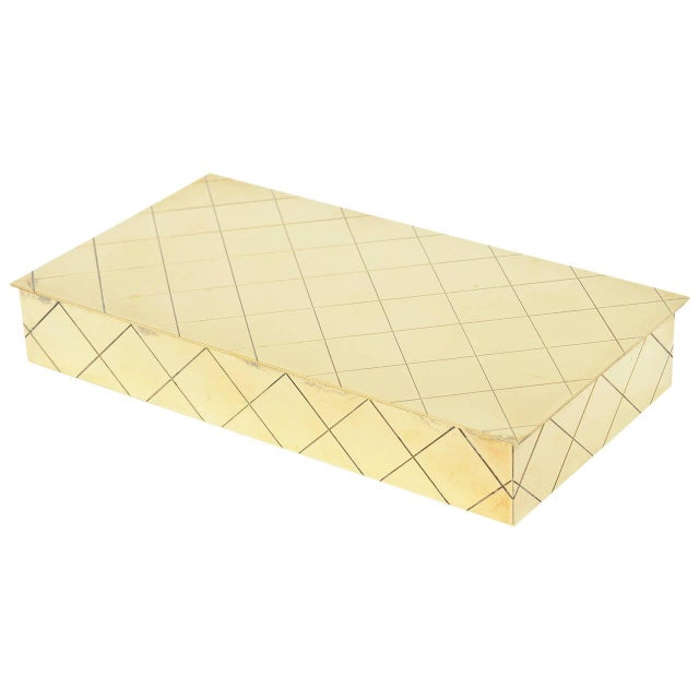 Tommi Parzinger Polished Diamond Criss Cross Brass and Wood Box - Image 1 of 9