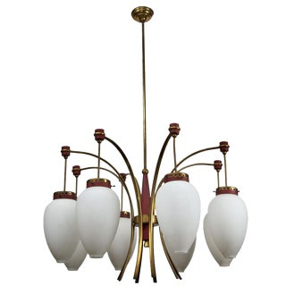 Mid Century Italian Stilnovo Eight-Arm Chandelier