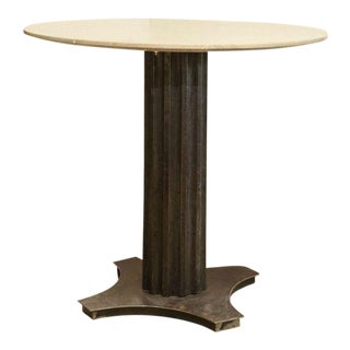Fluted Iron and Stone Side Table