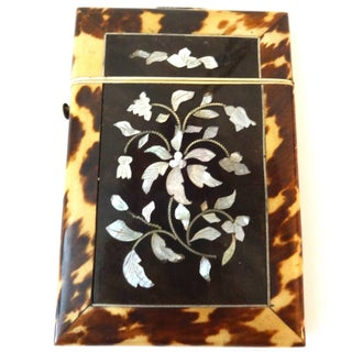 Faux Tortoise Shell & Mother of Pearl Card Box