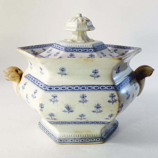 Antique Porcelain Blue Staffordshire Sugar Dish - Image 2 of 4