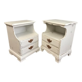 Vintage White Distressed Nightstands - A Pair
