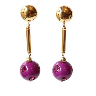Vintage Italian Gold and Violet Earrings