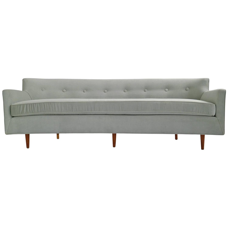 Lovely Danish Modern Curved Back Sofa   Image 1 Of 9