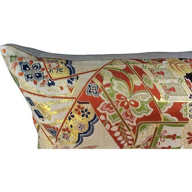 Japanese Obi Silk Metallic Pillow - Image 3 of 6