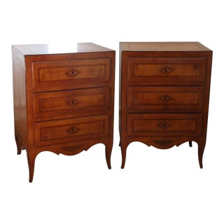 19th C. Italian Neoclassican Comodini Nightstands - a Pair