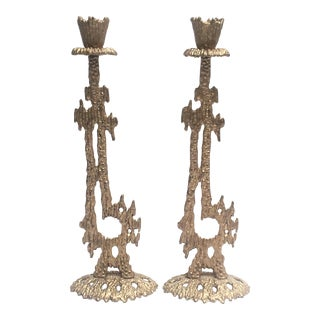 Brutalist style gold candleholders - a Pair