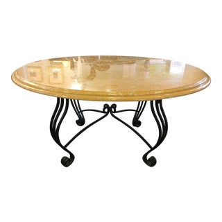Golden Yellow Marble Top Dinning Table