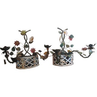 Painted White Iron Floral Wall Planters - A Pair