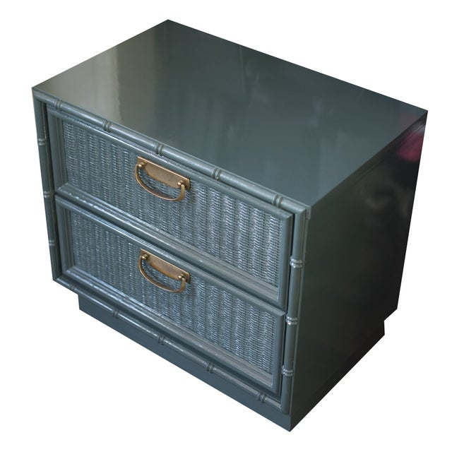 Teal Bamboo Lacquered Nightstand - Image 2 of 7