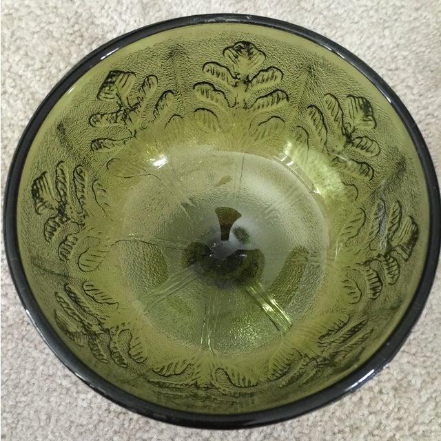 Vintage 1978 Green Glass Pedestal Dish - Image 4 of 6