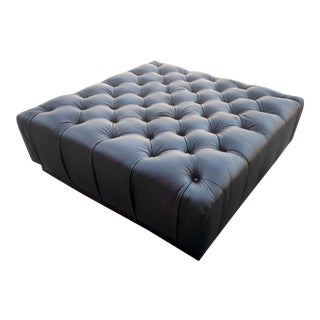 Dark Brown Leather Tufted Ottoman