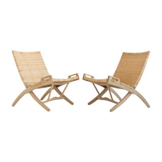 Hans Wegner Folding Lounge Chairs - A Pair