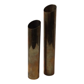 Modern Brass Candlestick Holders - A Pair