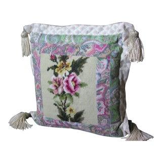 Floral Needlepoint Throw Pillow