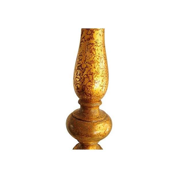 Vintage Blue & Gold Ceramic Table Lamp - Image 4 of 4