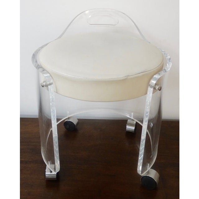 1980s lucite vanity stool chairish - Acrylic vanity chair ...